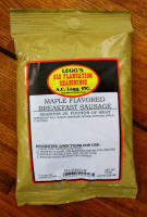 AC Legg Old Plantation Maple Flavored Sausage Seasoning.  Blend #8. One 10 oz. Bag Seasons 25 lbs. of Meat.