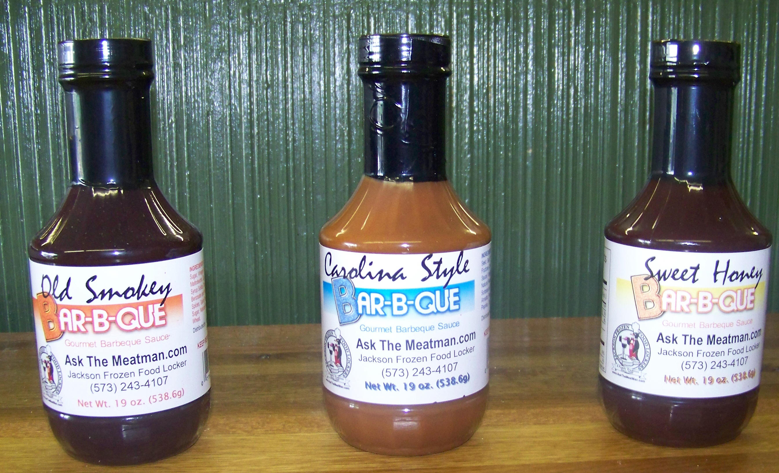 Variety Pack of BBQ Sauce. Old Smoke, Carolina Style and Sweet Honey.