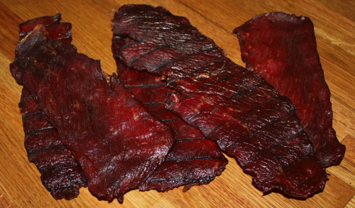 Here is the finished beef jerky.  Delicious and ready to eat!  Click on the photo to enlarge.