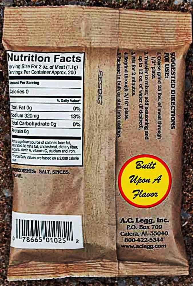 AC Legg #10 Pork Sausage Seasoning
